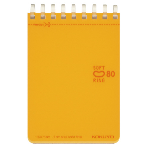 ソフトリングノート(ドット入リ罫・カットオフ) メモタイプ オレンジ [メ-SV378BT-YR]