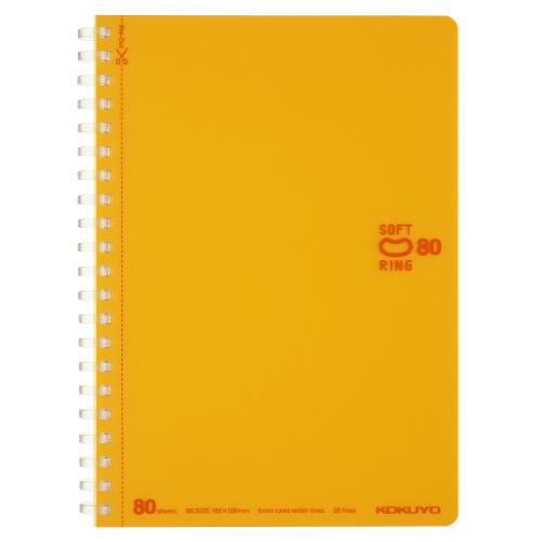 ソフトリングノート(ドット入リ罫・カットオフ) B6 オレンジ [ス-SV348BT-YR]