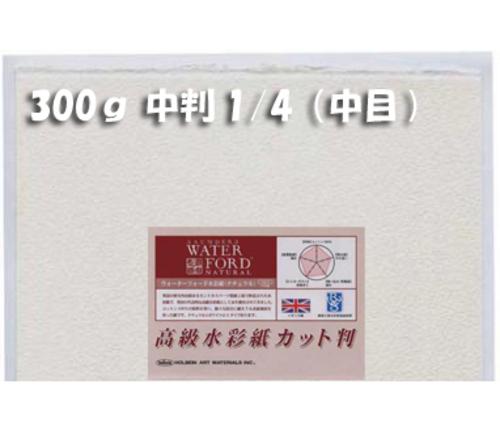 ウォーターフォードナチュラル水彩紙300g【中目】中判1/4パック(2枚入)