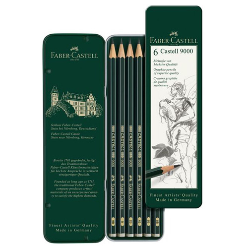 カステル9000鉛筆 6硬度デザイン缶