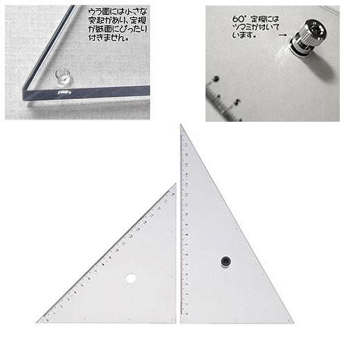 ウチダ ツマミ付き三角定規20cm型(013-0009)