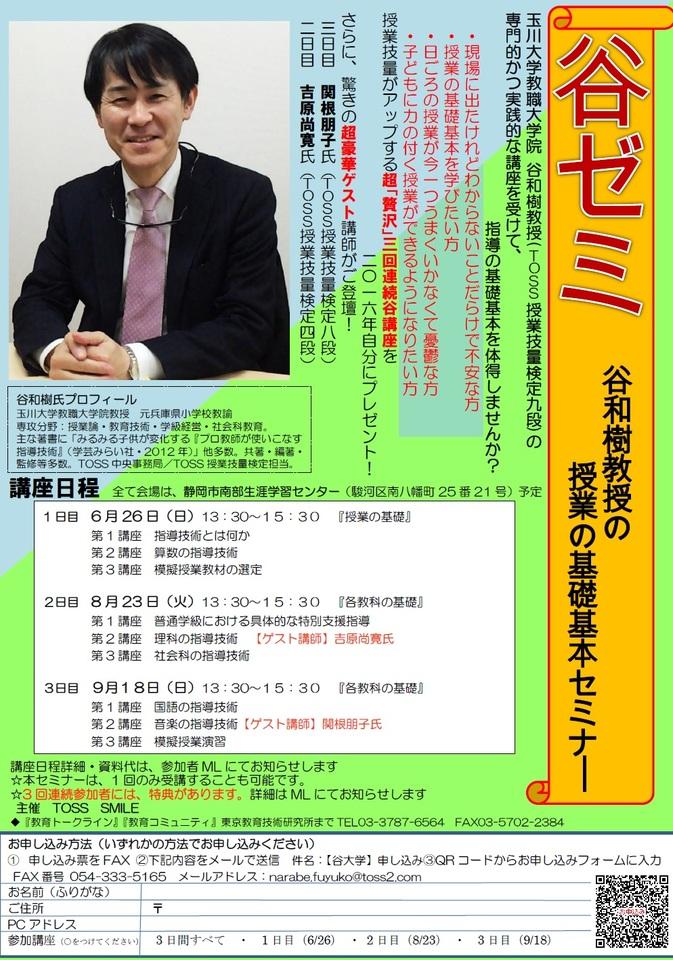 谷ゼミ~谷和樹教授の授業の基礎基本セミナー~ 1日目