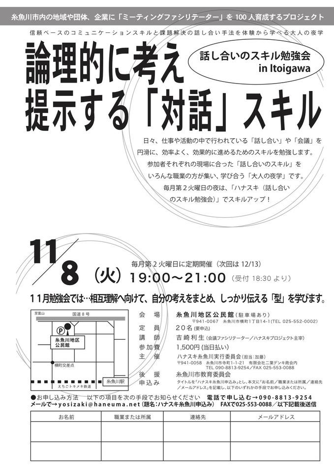 【ファシリテーションの技術】話し合いのスキル勉強会(ハナスキ糸魚川)「論理的に考え提示する対話スキル」