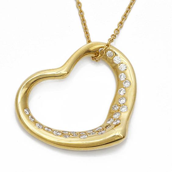 K18 ハートダイヤ ネックレス