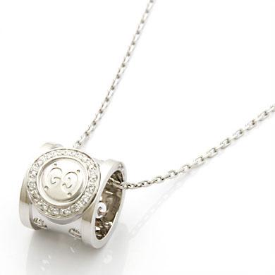 K18WG アイコントワール ダイヤモンド ネックレス