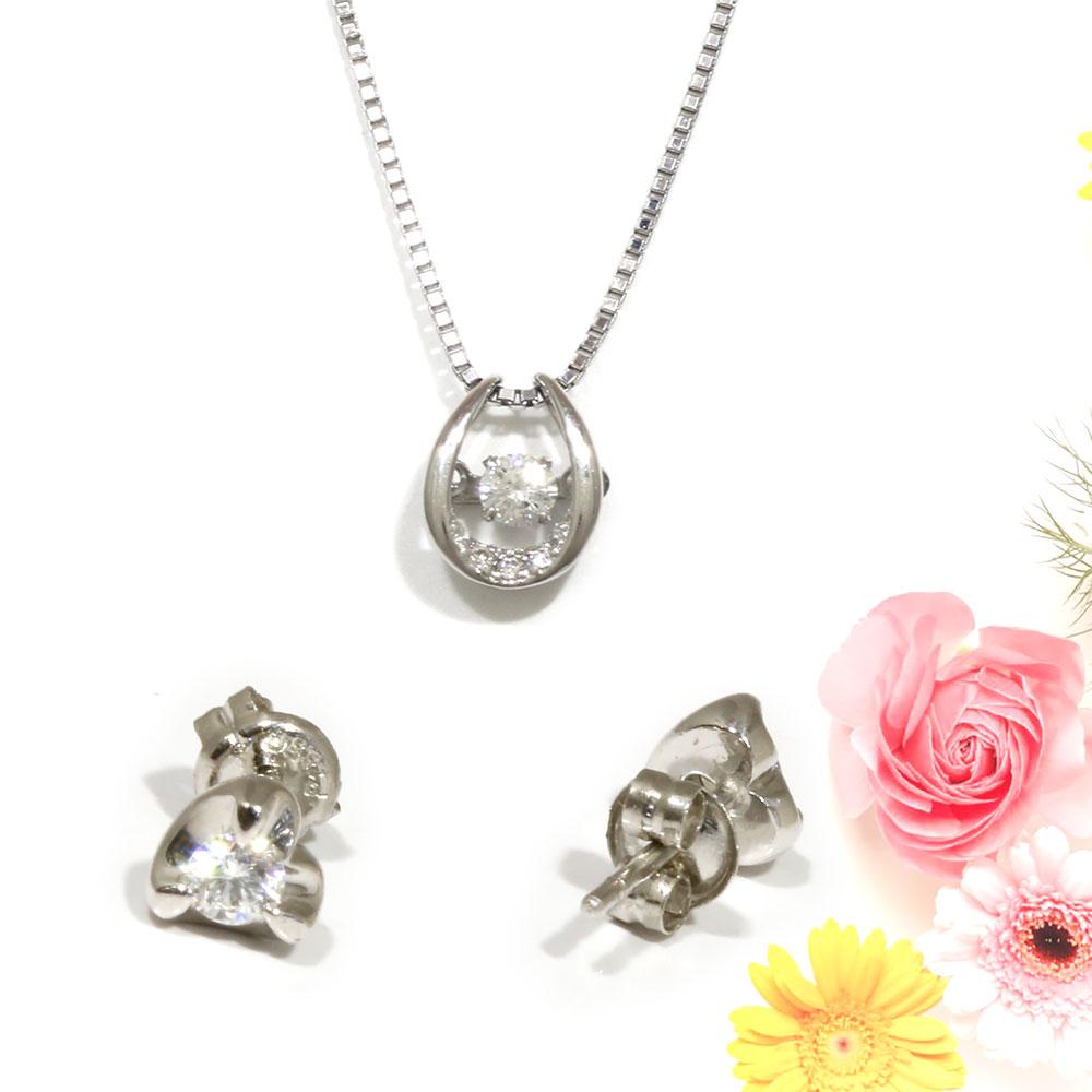 【Set Jewelry】ダンシングダイヤプチネックレス & ダイヤハートピアス