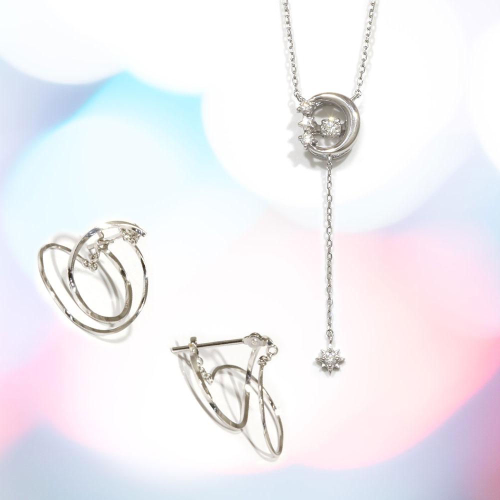 【Set Jewelry】ダンシングダイヤプチネックレス & ピアス