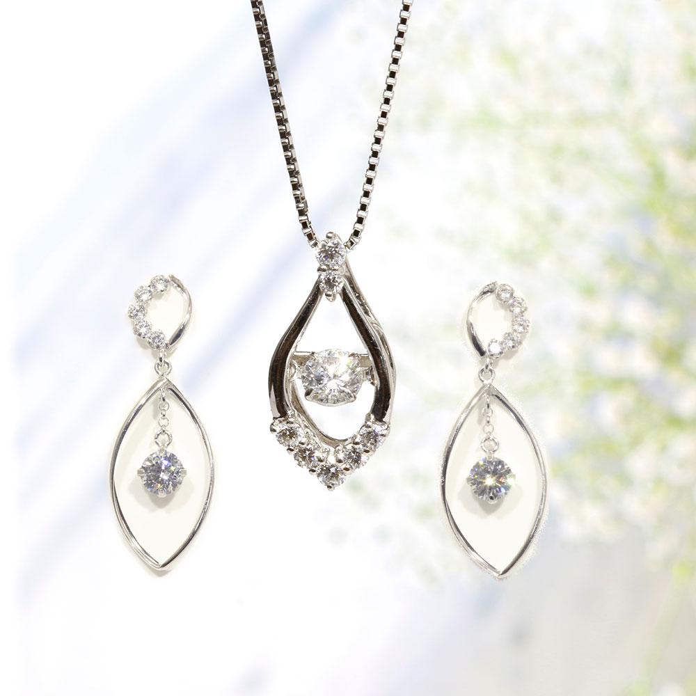 【Set Jewelry】ダンシングダイヤプチネックレス & キュービックピアス