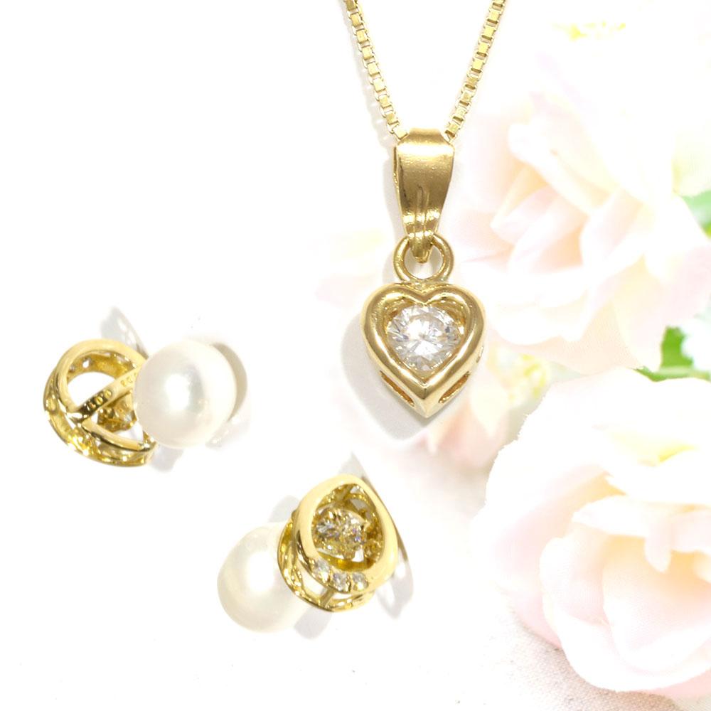 【Set Jewelry】ダイヤハートプチネックレス & ダンシングダイヤピアス