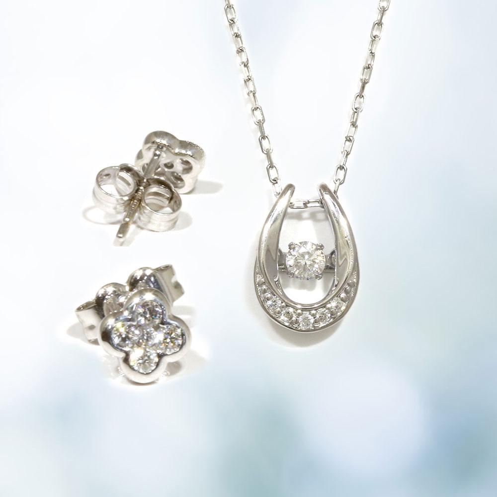 【Set Jewelry】ダンシングダイヤプチネックレス & クローバーダイヤピアス