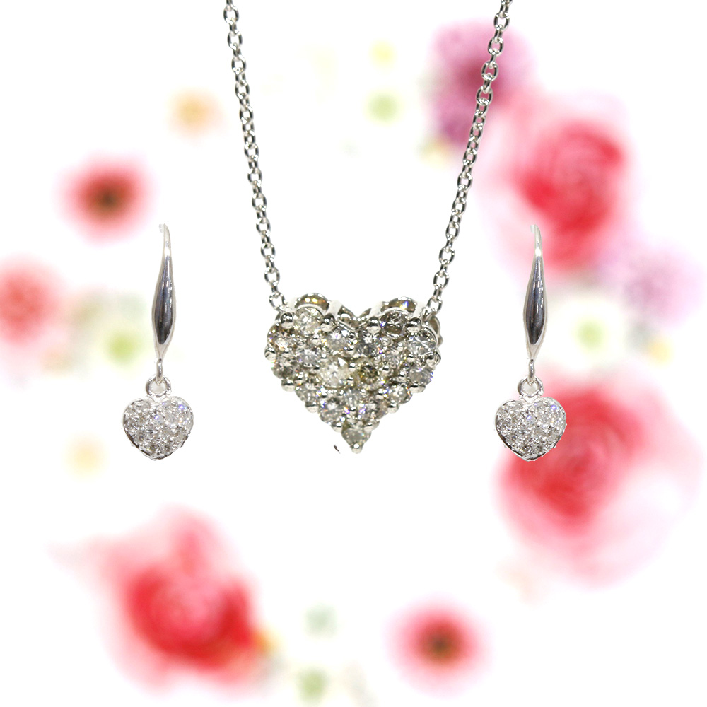 【Set Jewelry】ダイヤハートプチネックレス & ダイヤハートピアス