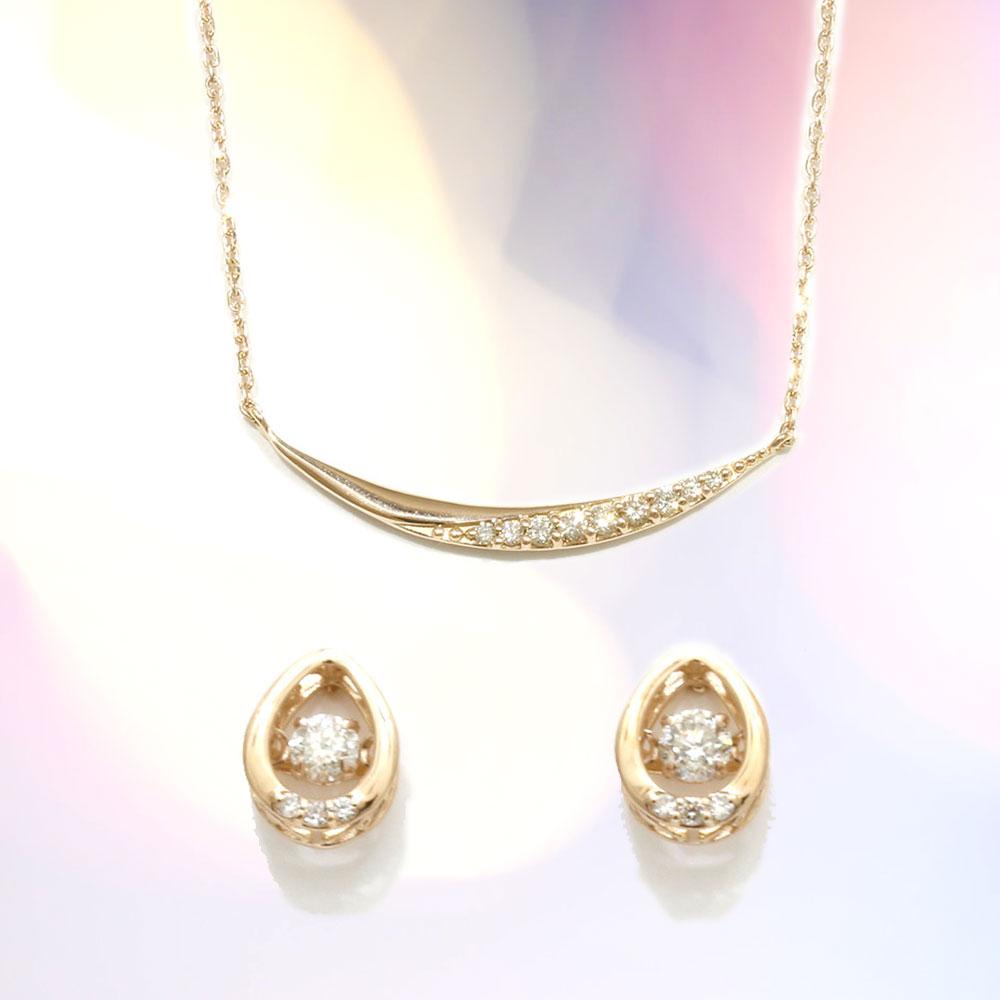 【Set Jewelry】ダイヤ プチネックレス&ダンシングダイヤピアス