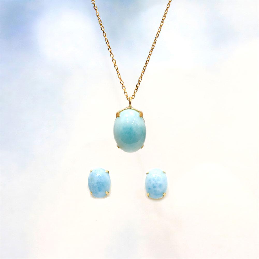 【Set Jewelry】ラリマー プチネックレス&ピアス