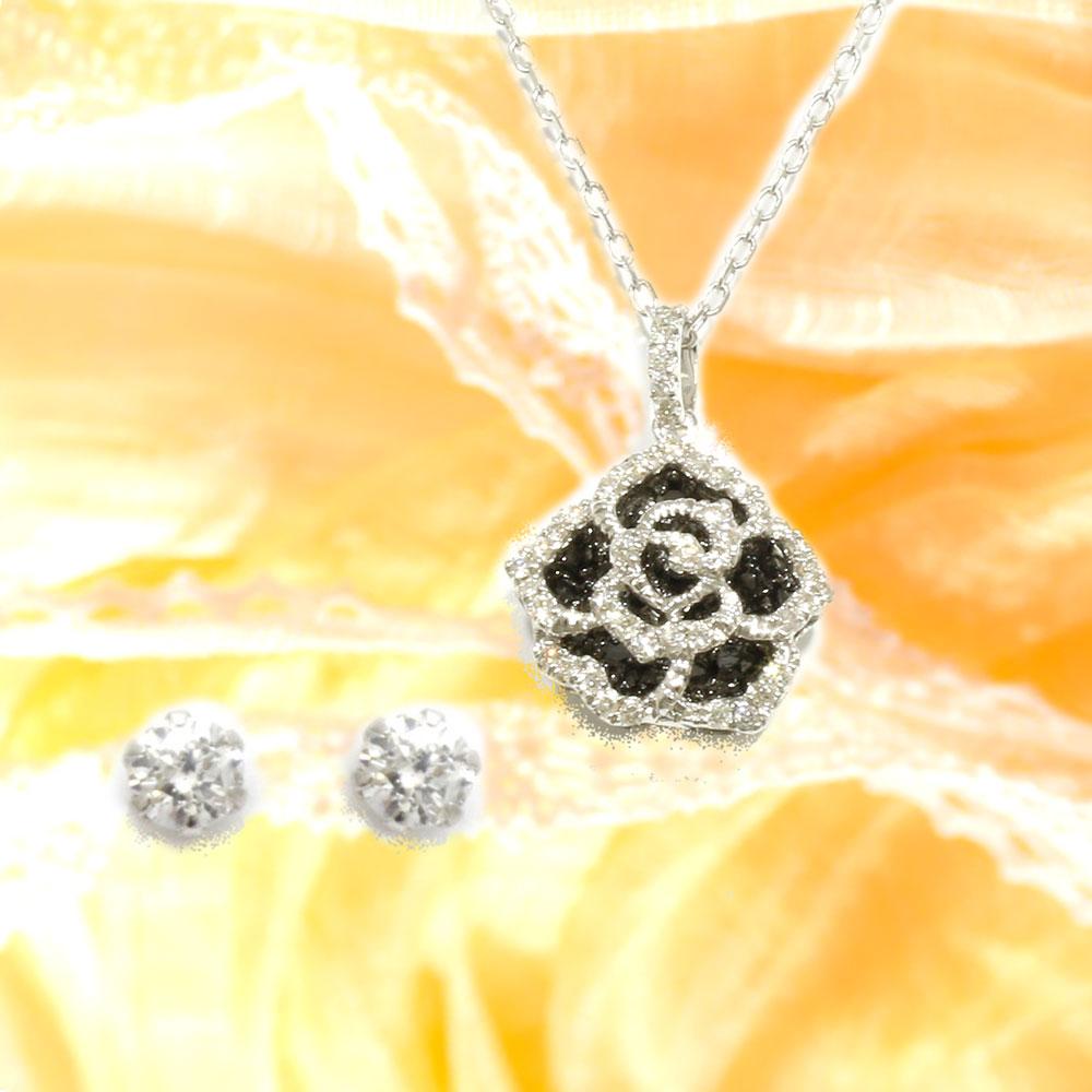 【Set Jewelry】ブラックダイヤ プチネックレス&プラチナダイヤピアス
