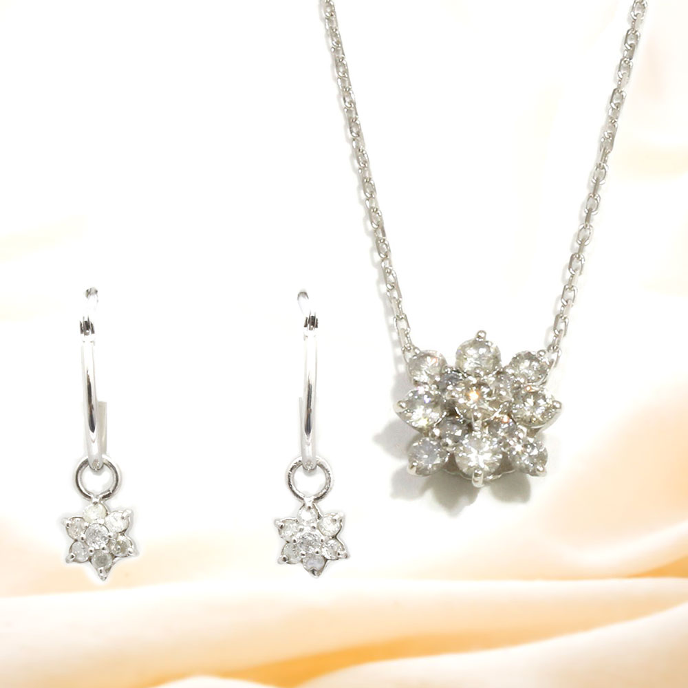 【Set Jewelry】ダイヤプチネックレス & ダイヤピアス