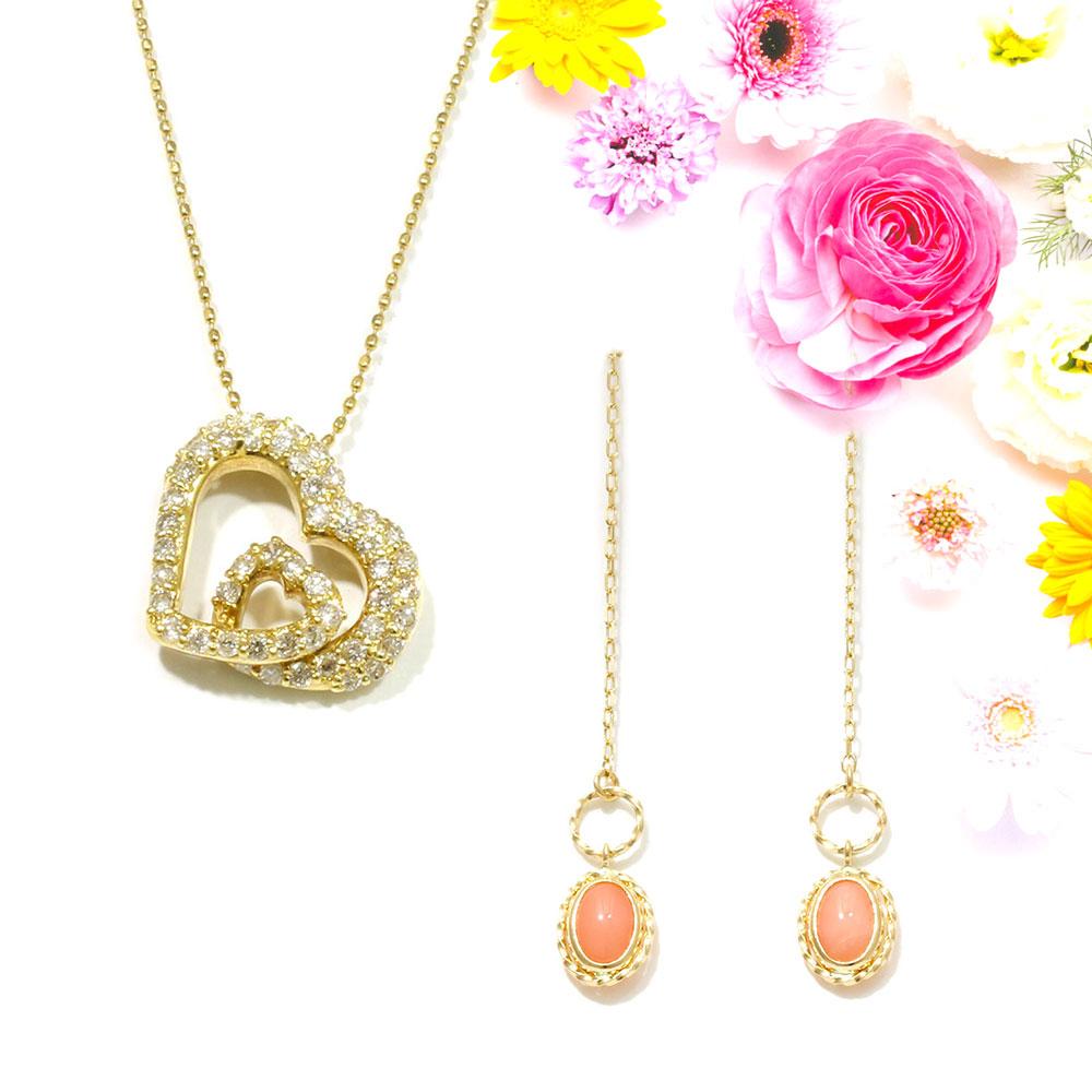【Set Jewelry】ダイヤハートプチネックレス & サンゴアメリカンピアス