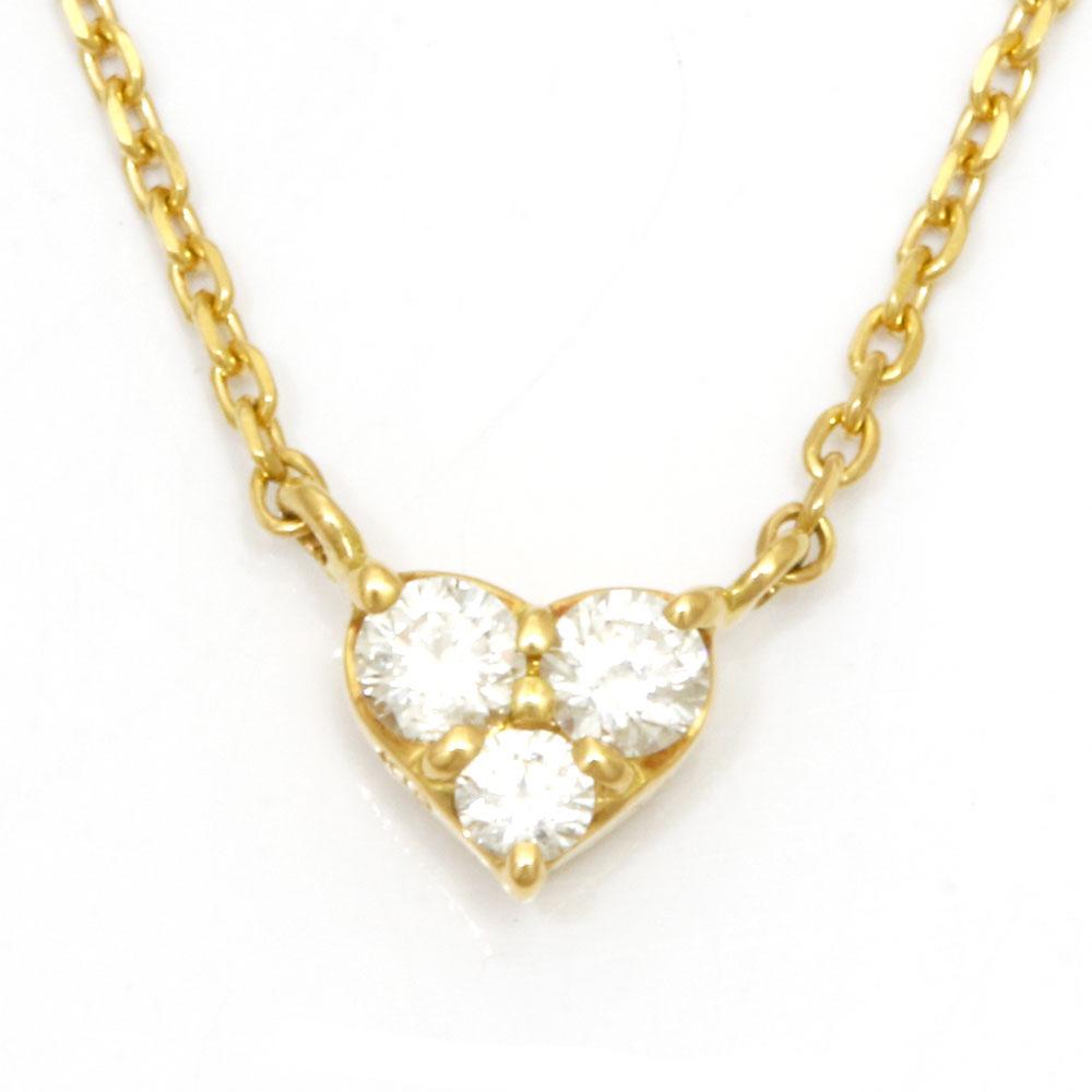 K18 ハート ダイヤモンド ネックレス
