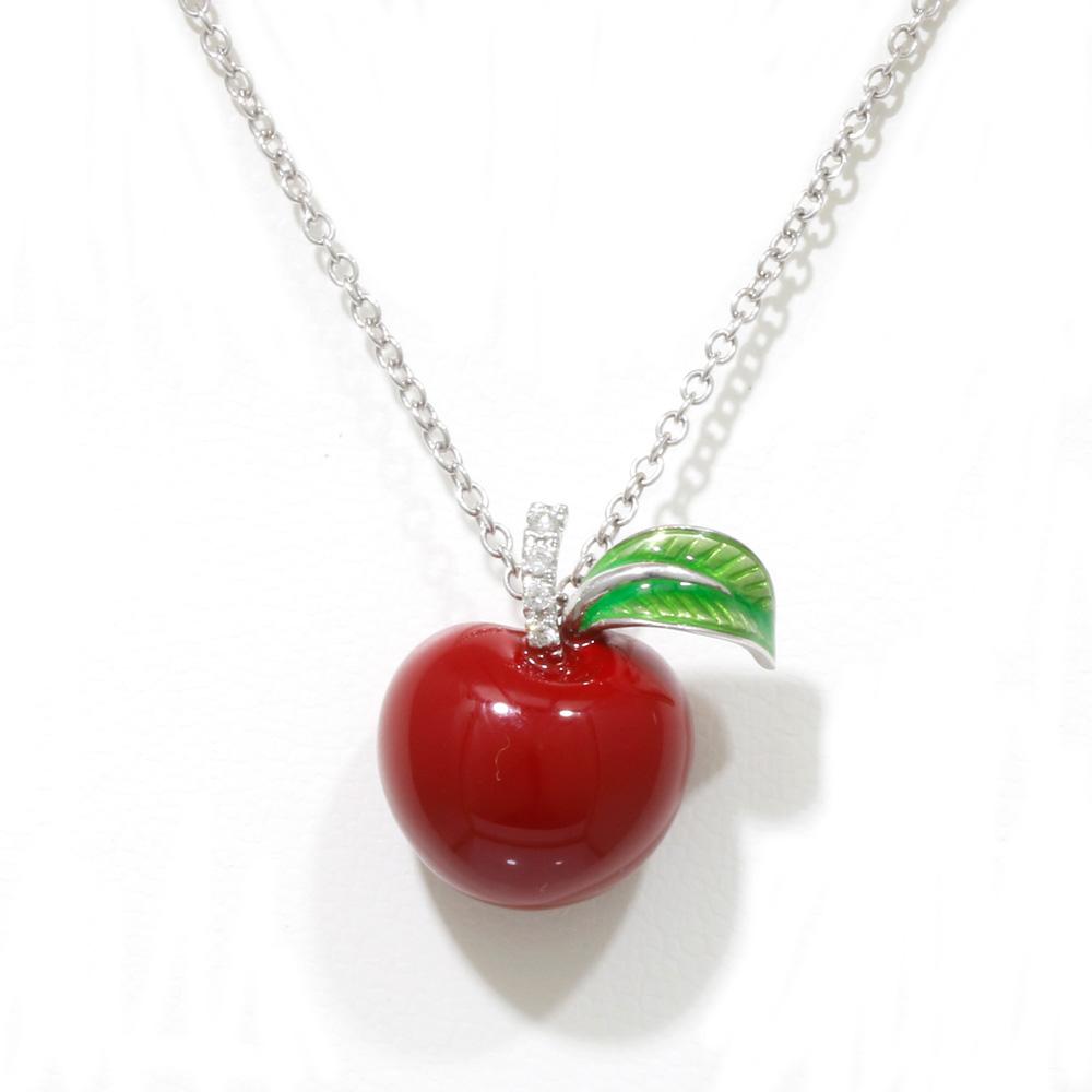 K18WG シルバー ダイヤモンド リンゴ ネックレス