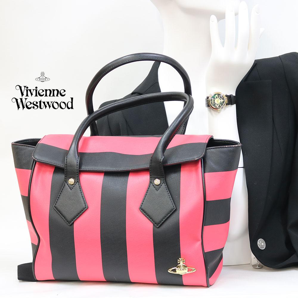 【Set Coordinate】Vivienne Westwoodトートバッグ&時計(新品)ステンレスレザー【腕回り約14-18.0cm】