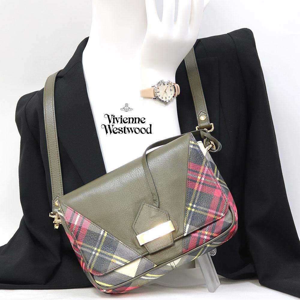 【Set Coordinate】Vivienne Westwoodレザーショルダー&時計(新品)ステンレスレザー【腕回り約15.0-19.0cm】