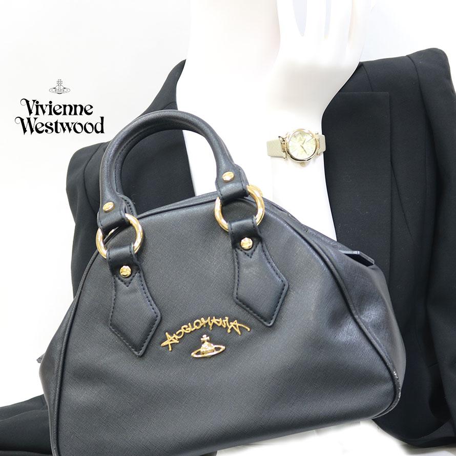 【Set Coordinate】Vivienne Westwoodレザーバッグ&時計(新品)ステンレスレザー【腕回り約14.0-18.0cm】