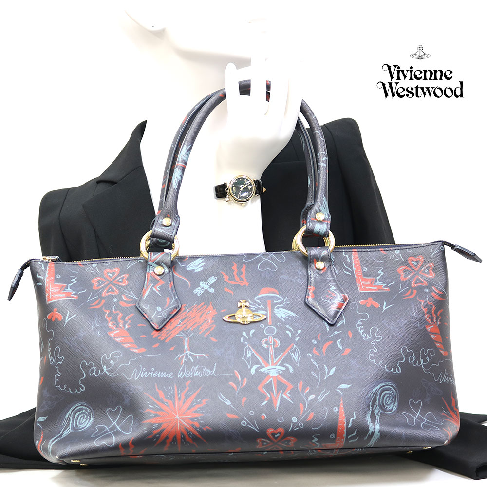 【Set Coordinate】Vivienne Westwoodトートバッグ&時計(新品)ステンレスレザー【腕回り約15.5-19.0cm】