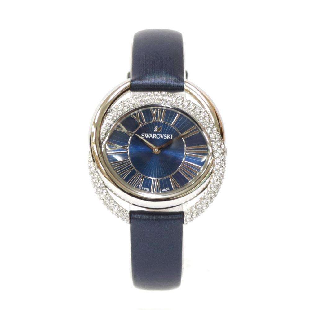時計 SWAROVSKI DUO ステンレス レザー【腕回り約14.0-19.0cm】