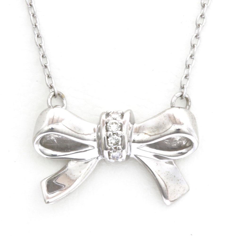 K18 リボン ダイヤモンド ネックレス