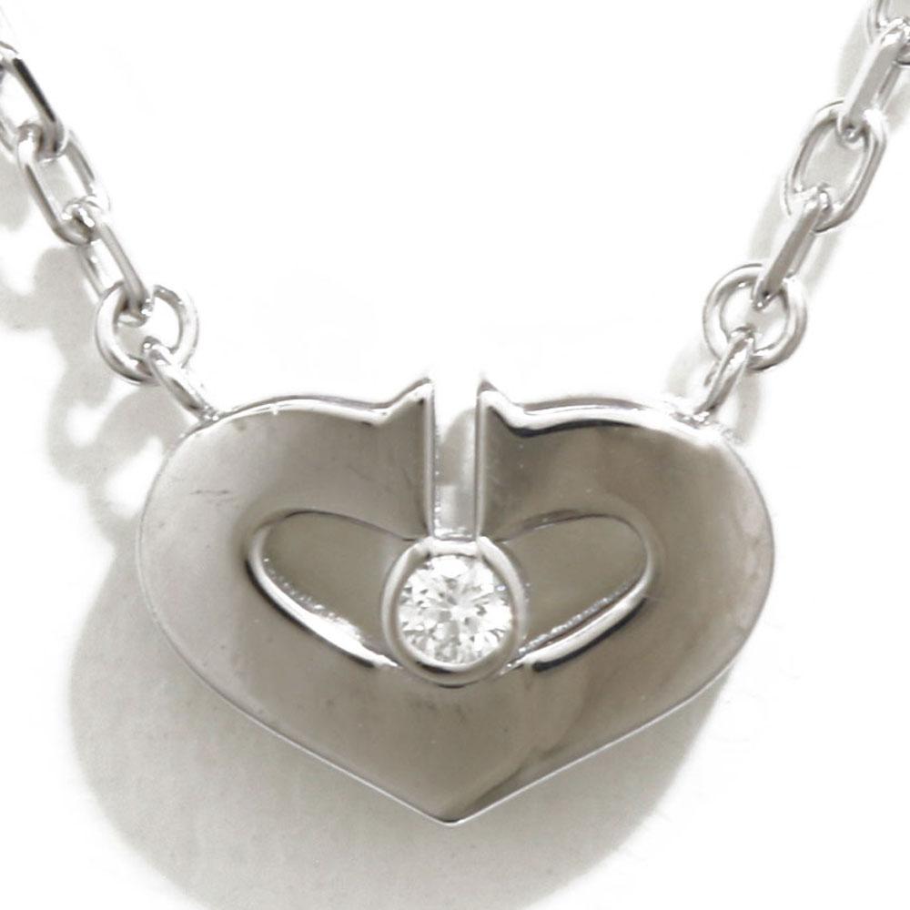 K18WG Cハートダイヤモンド ネックレス