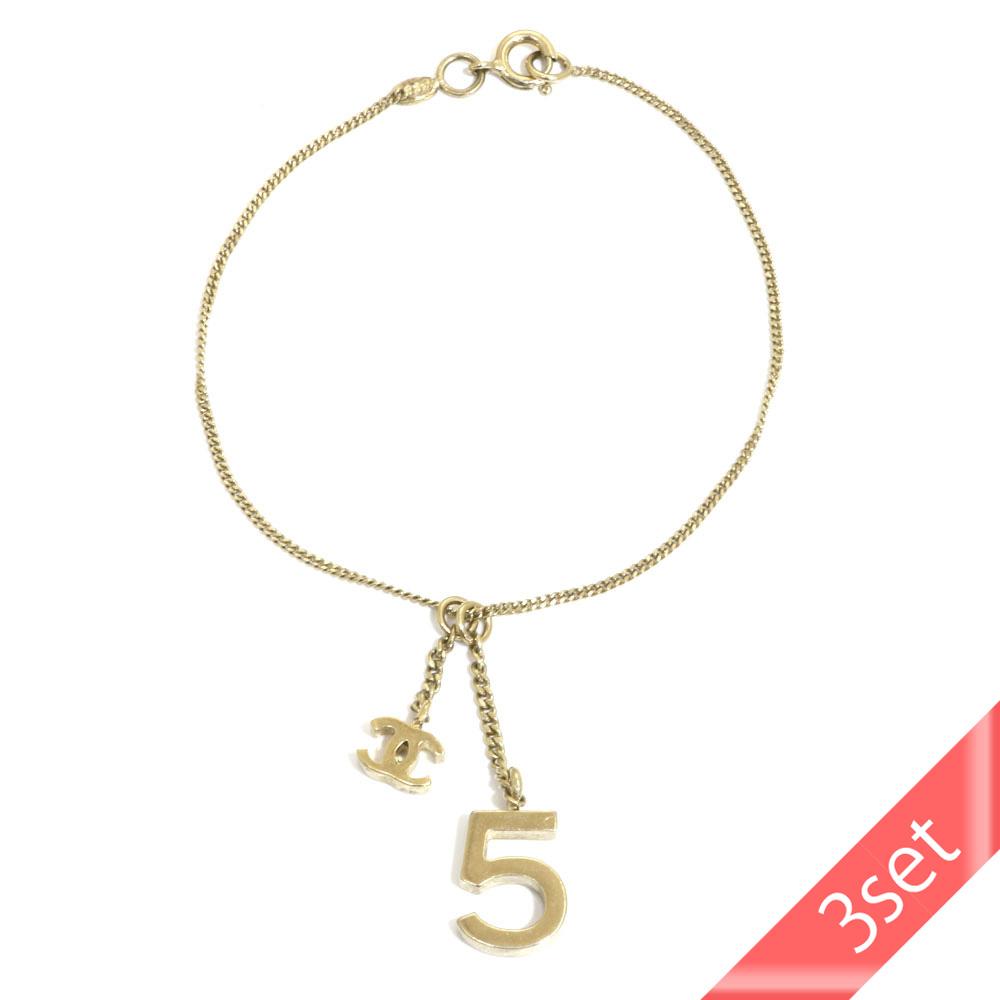 【3set】シャネル ココマーク5番ブレスレット ◇ シャネル イヤリング ◇ K18WG ネックレス