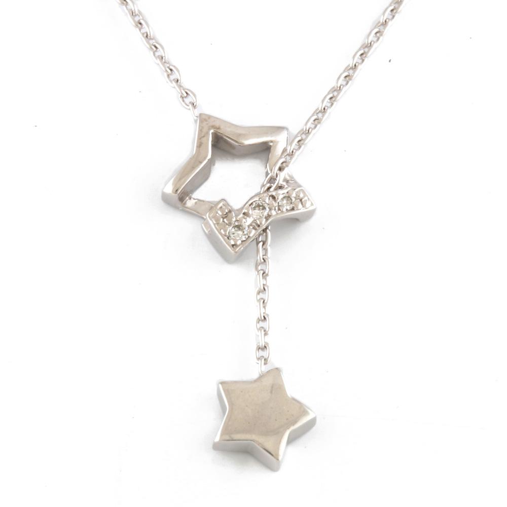 K18WG スター ダイヤモンド ネックレス