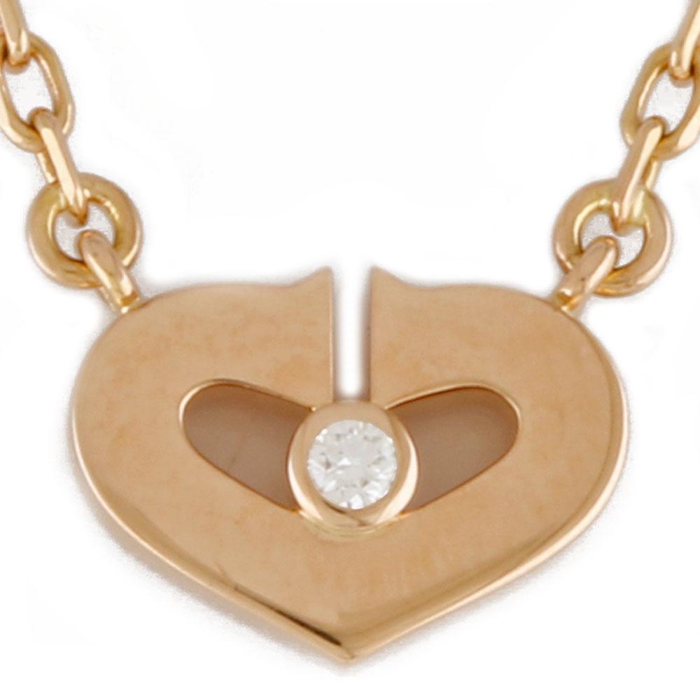 K18PG Cハート ダイヤモンド ネックレス