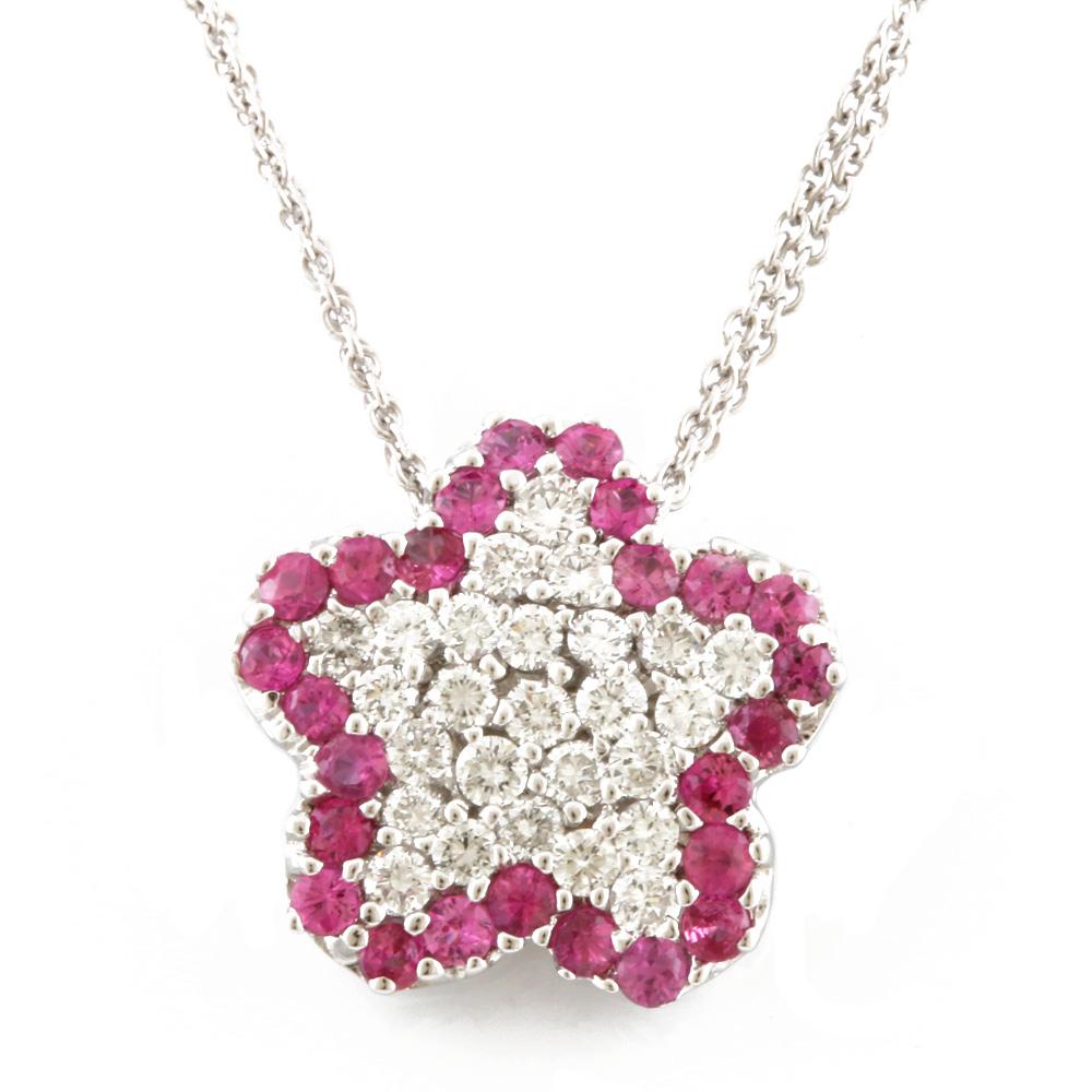 K18WG 星 ピンクサファイア ダイヤモンド ネックレス