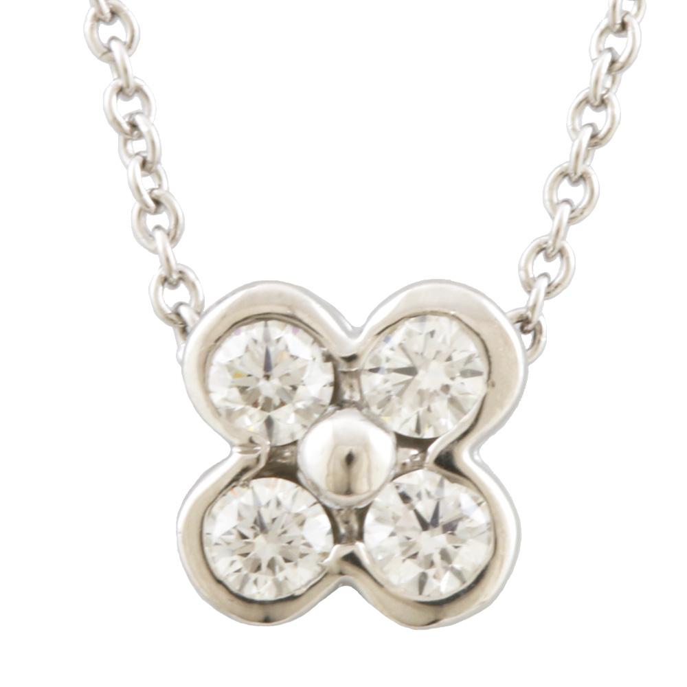 PT950 ベゼル フラワー 4Pダイヤモンド ネックレス