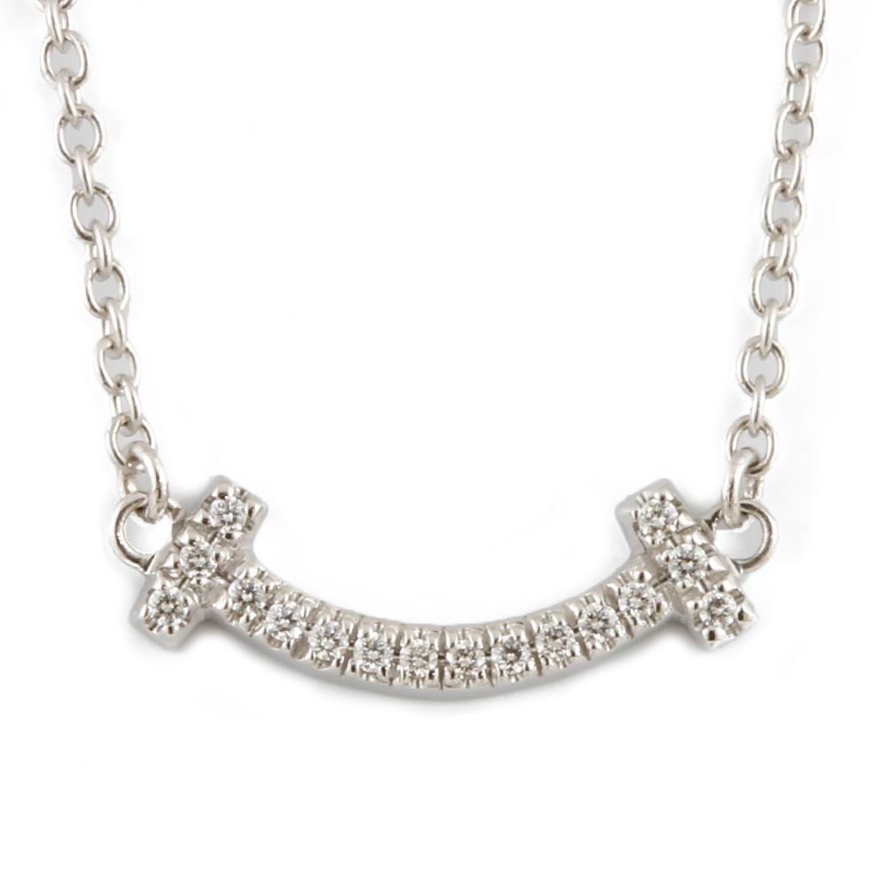 K18WG ダイヤモンド Tスマイル ミニ ネックレス