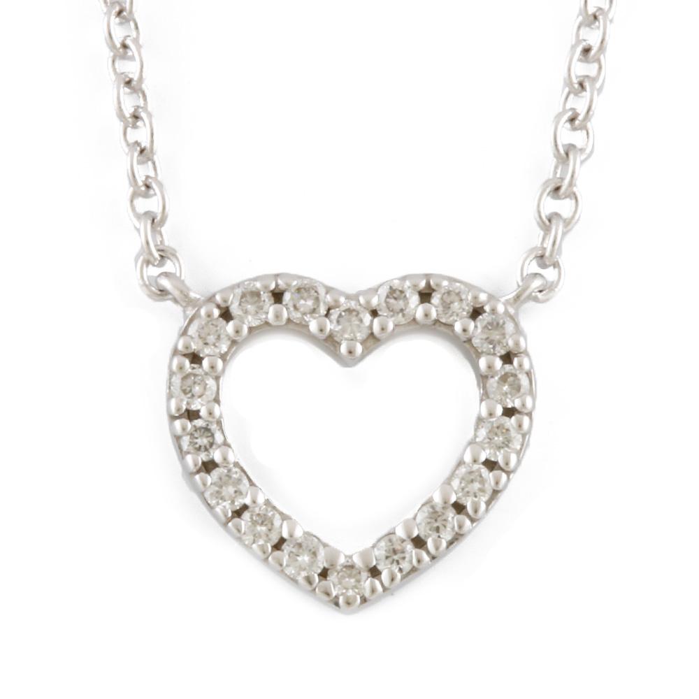 K18WG ダイヤモンド メトロハート ネックレス