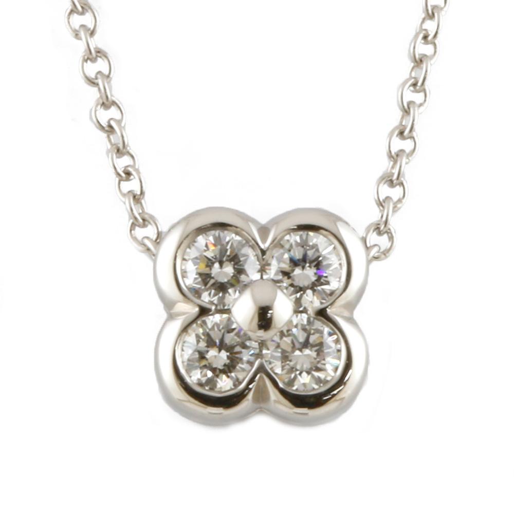 PT950 ダイヤモンド フラワー ベゼルセット ネックレス