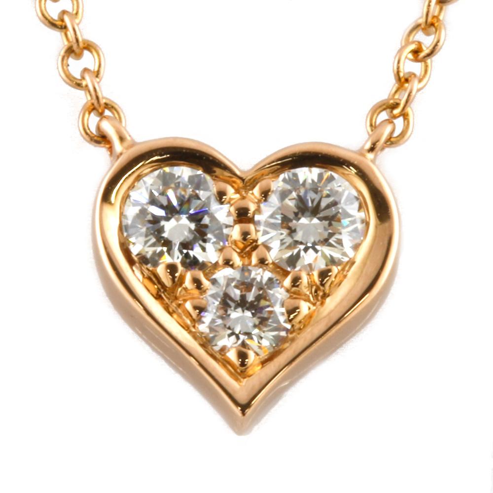 K18PG ダイヤモンド センチメンタルハート ネックレス