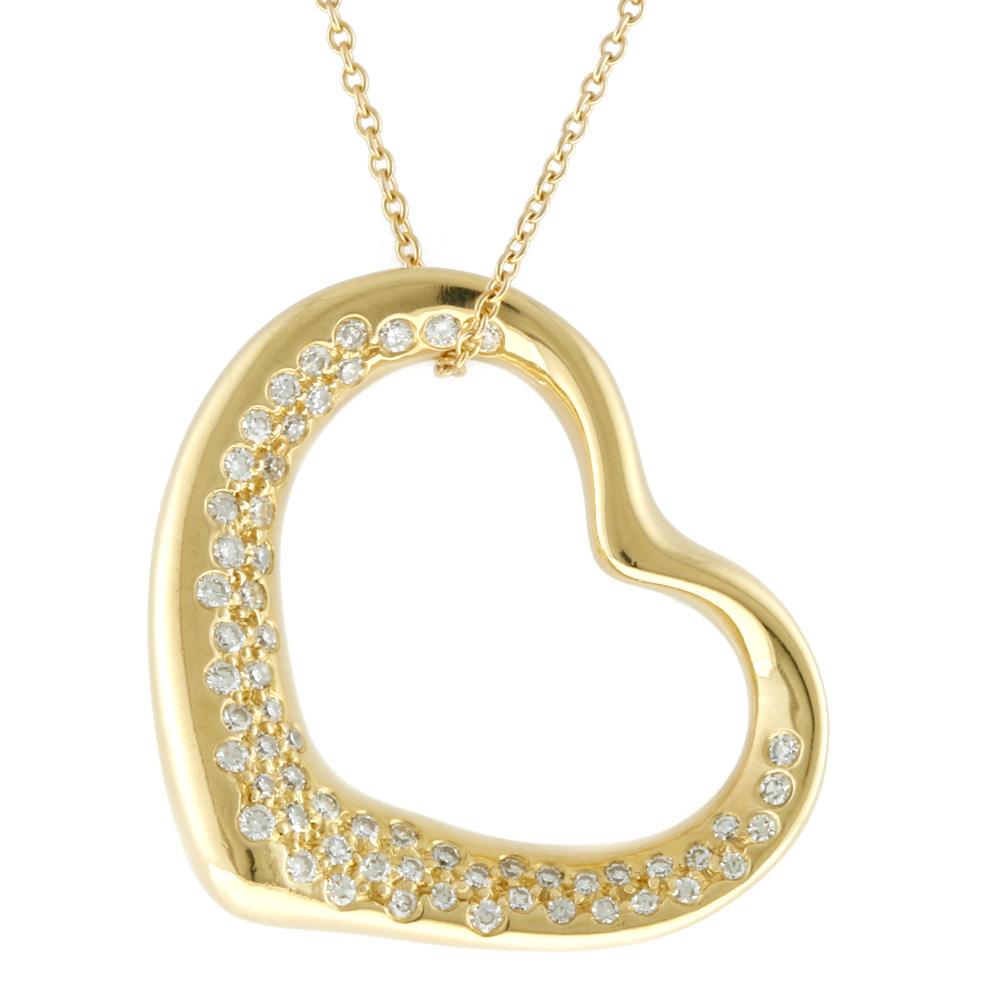 K18 ダイヤモンド オープンハート ネックレス