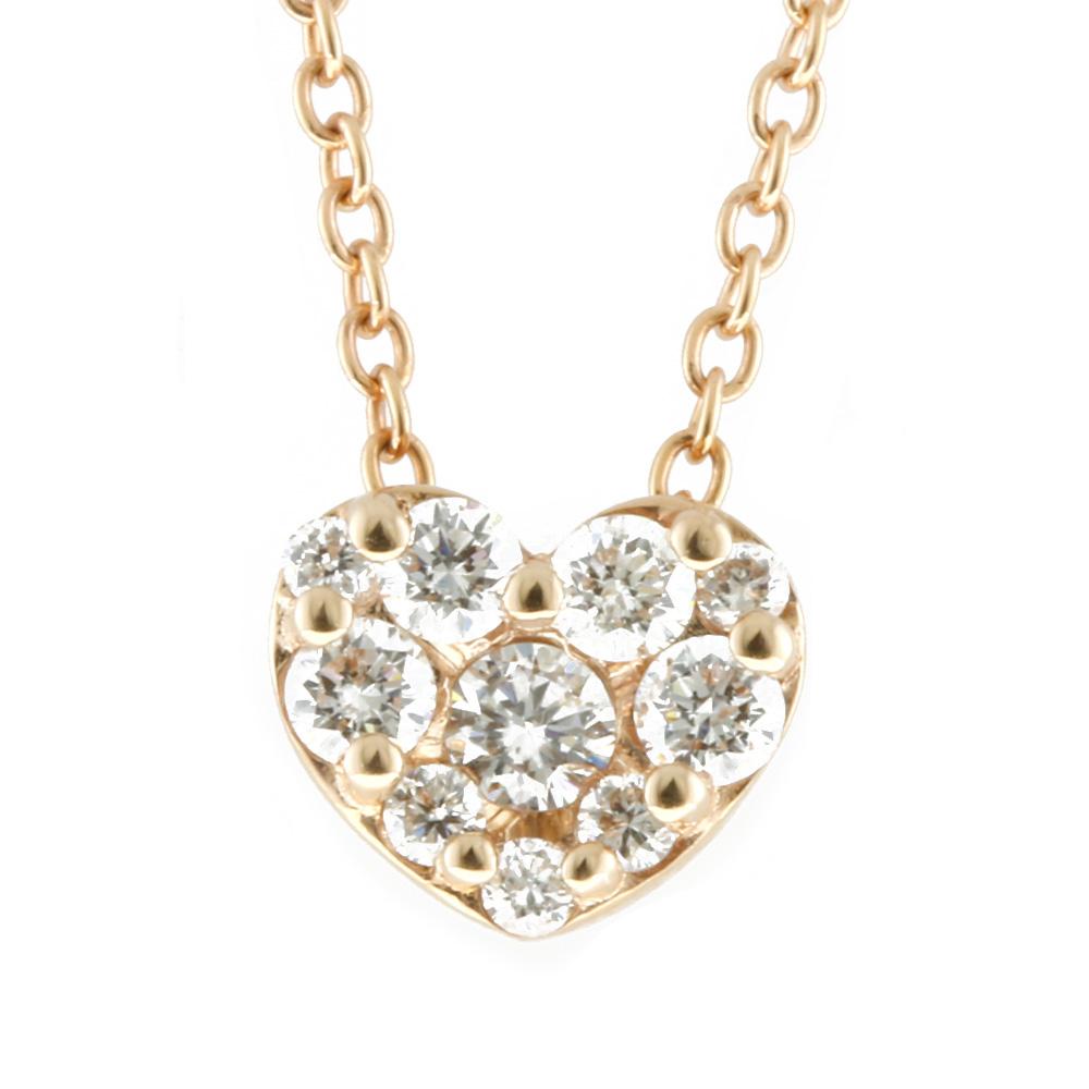K18PG ダイヤモンド ハート ネックレス