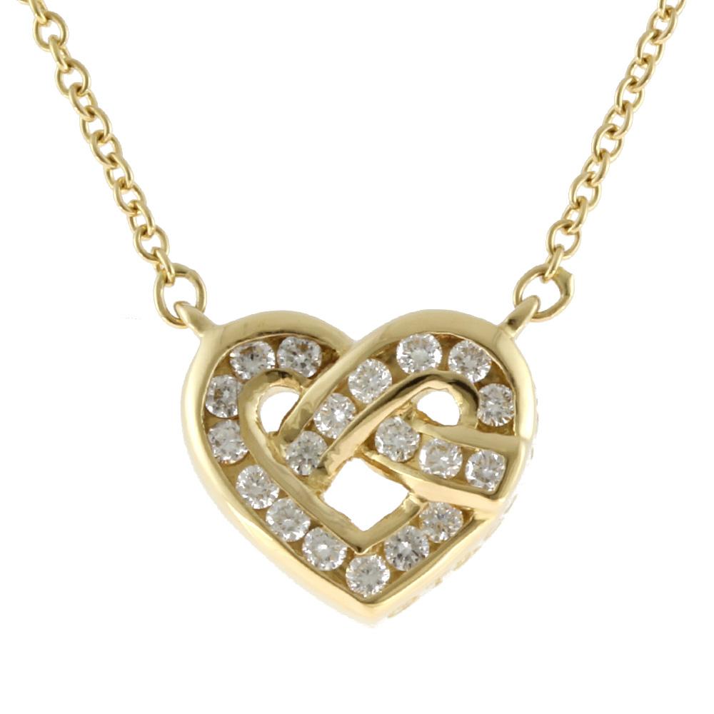 K18 ダイヤモンド ハート ネックレス