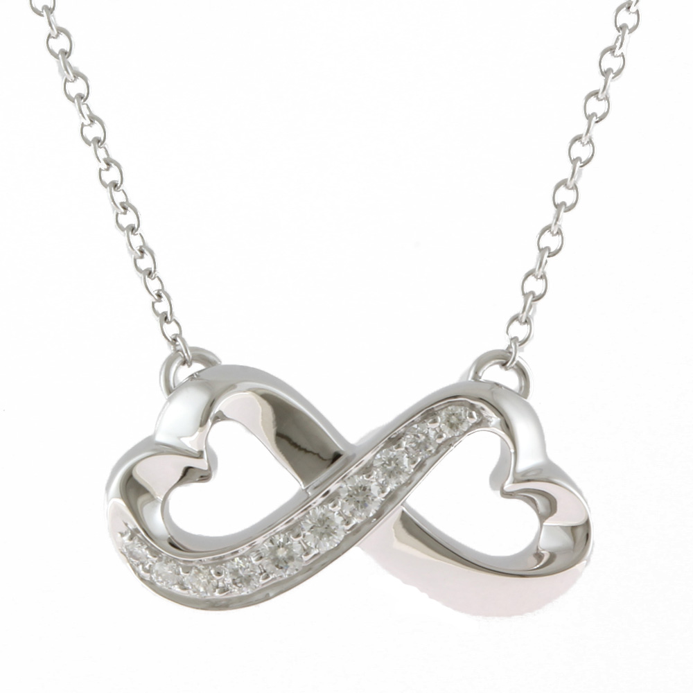 K18WG ダイヤモンド ダブルラビングハート ネックレス