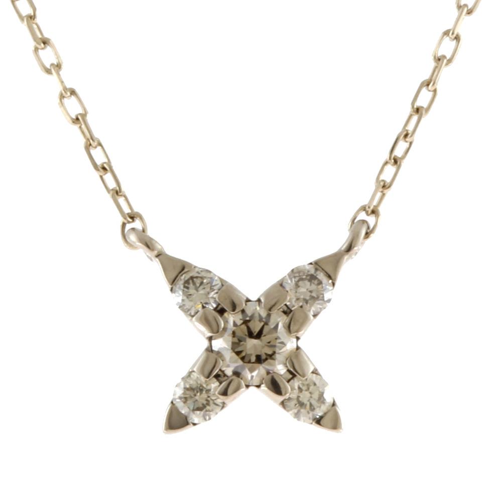 K18WG ブラウンダイヤモンド クロス ネックレス