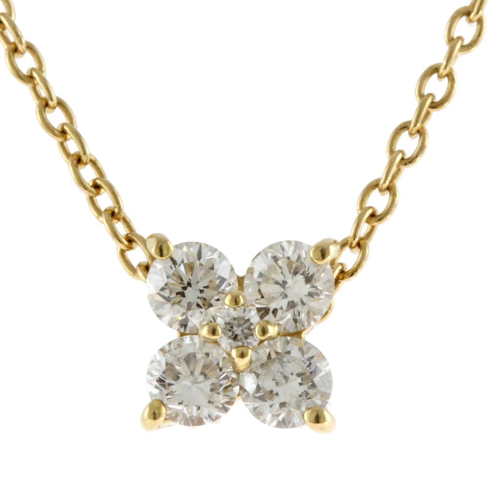 K18 ダイヤモンド フラワー ネックレス