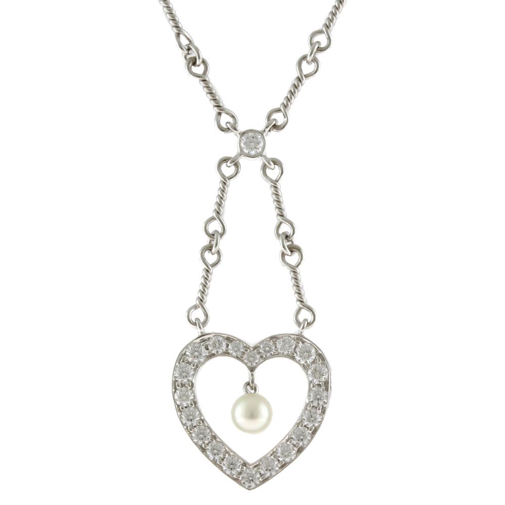 PT950 ダイヤモンド パール センチメンタルハート ネックレス