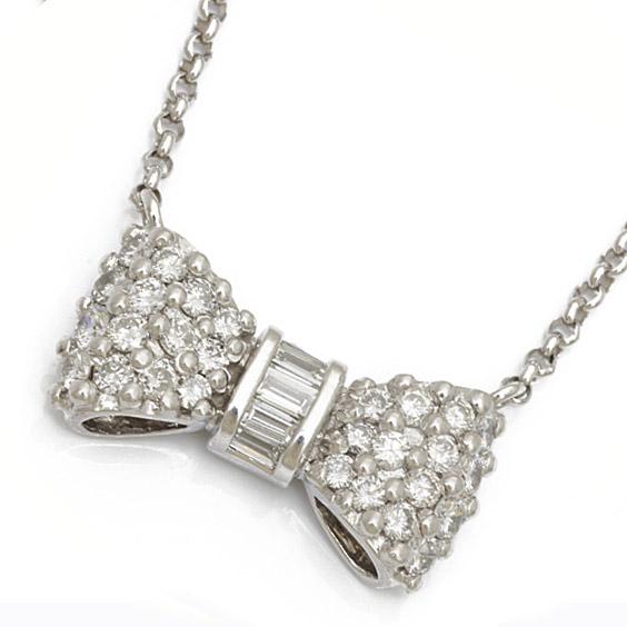 PT850/K18WG リボン ダイヤモンド ネックレス