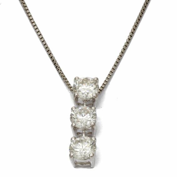 PT850 PT900 ダイヤモンド D0.680 3連 スリーストーン ベネチアンチェーン