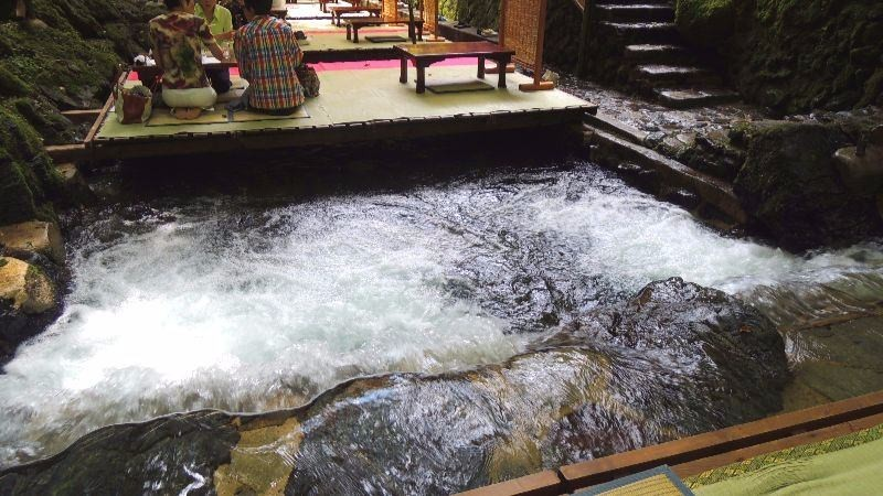Experience dining on top of a river in Kibune
