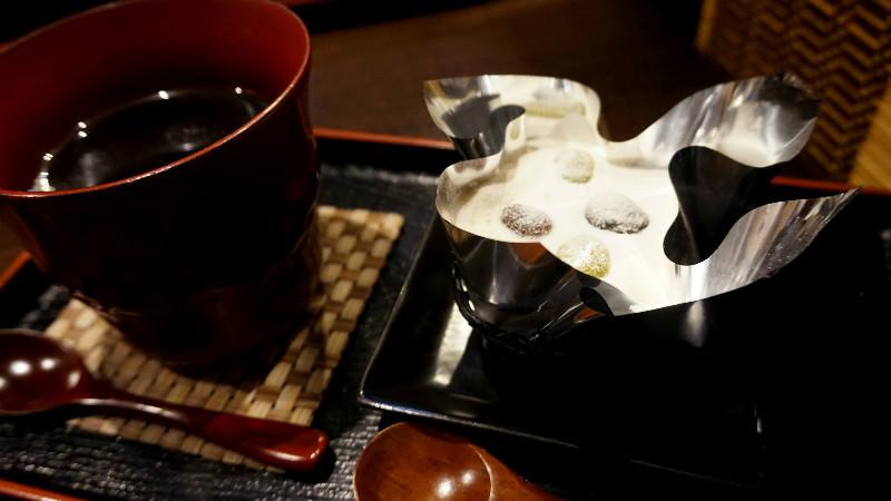 Green tea Tiramisu with hot coffee