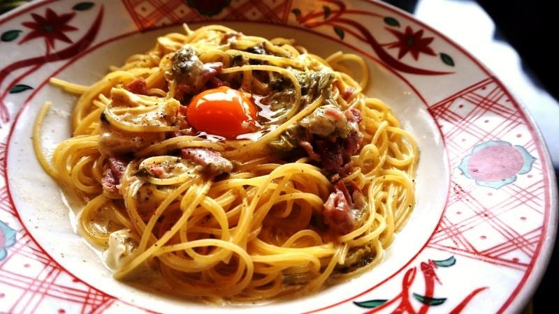 Soymilk Carbonara with Yuba, delicacy made from the skin of gently boiled soybean milk, Oboro-konbu, a type of dried seaweed called tangle flakes and mozzarella cheese